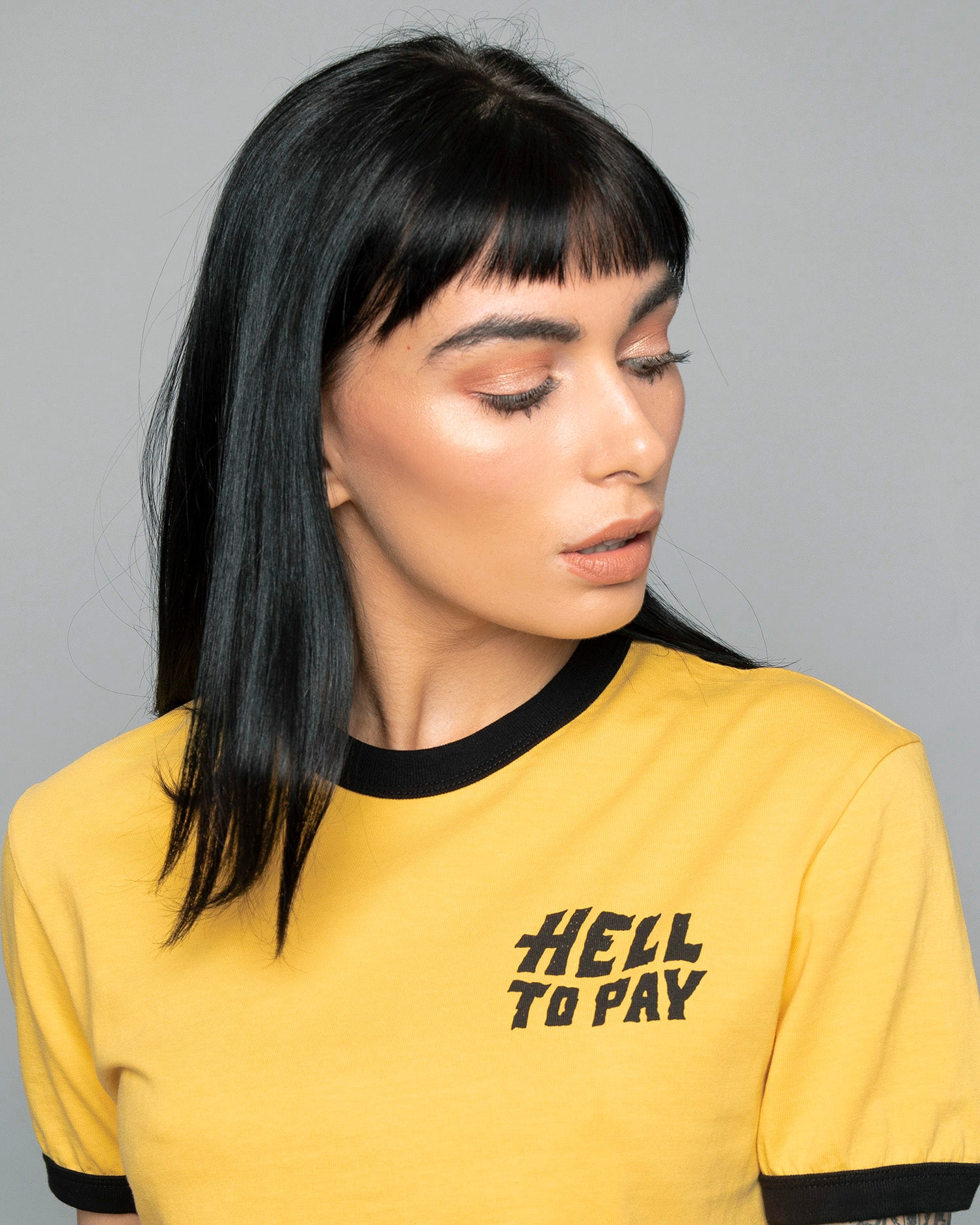 Womens Hell to Pay Graphic Yellow Ringer T-Shirt