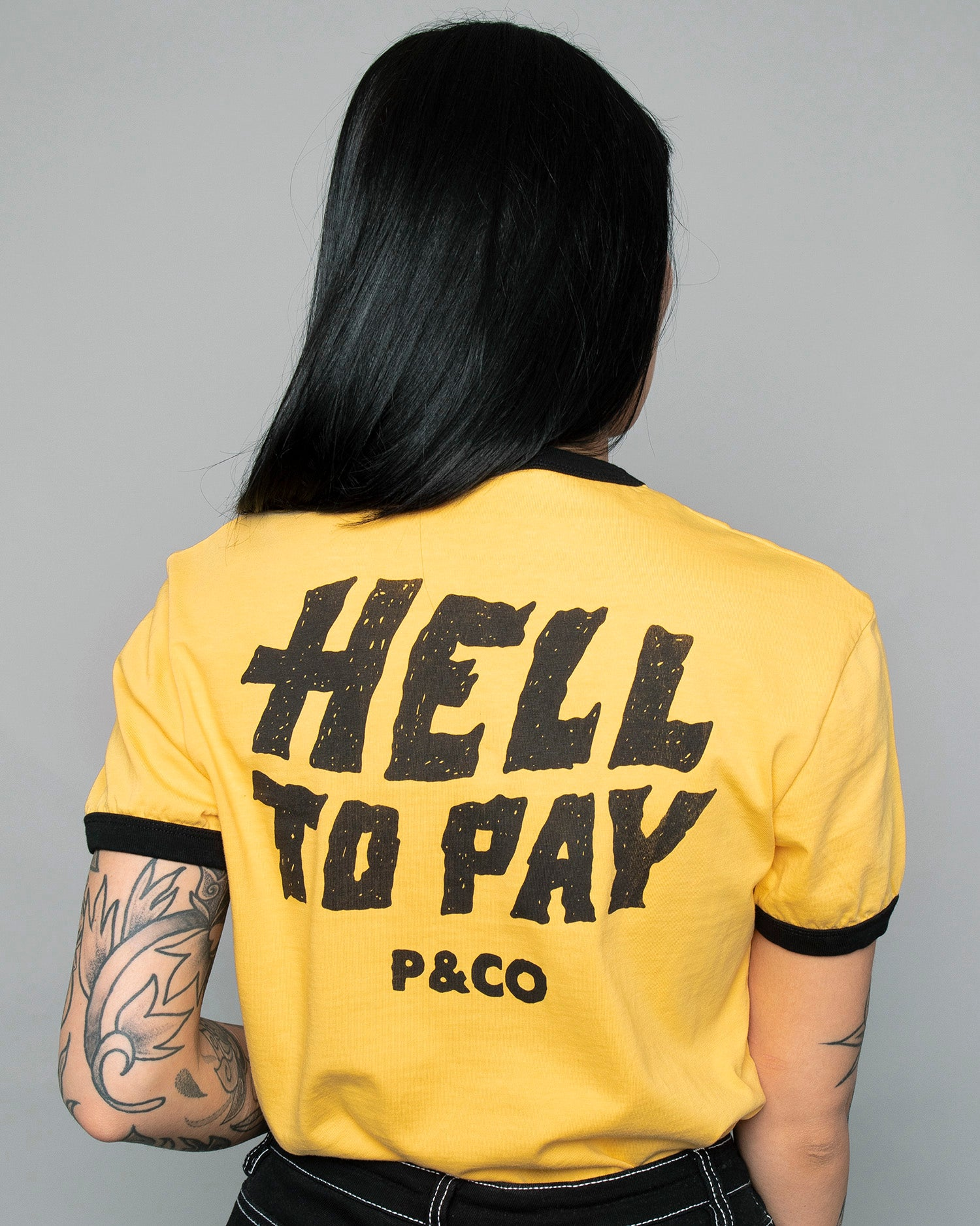 Womens Hell to Pay Ringer Yellow T-Shirt