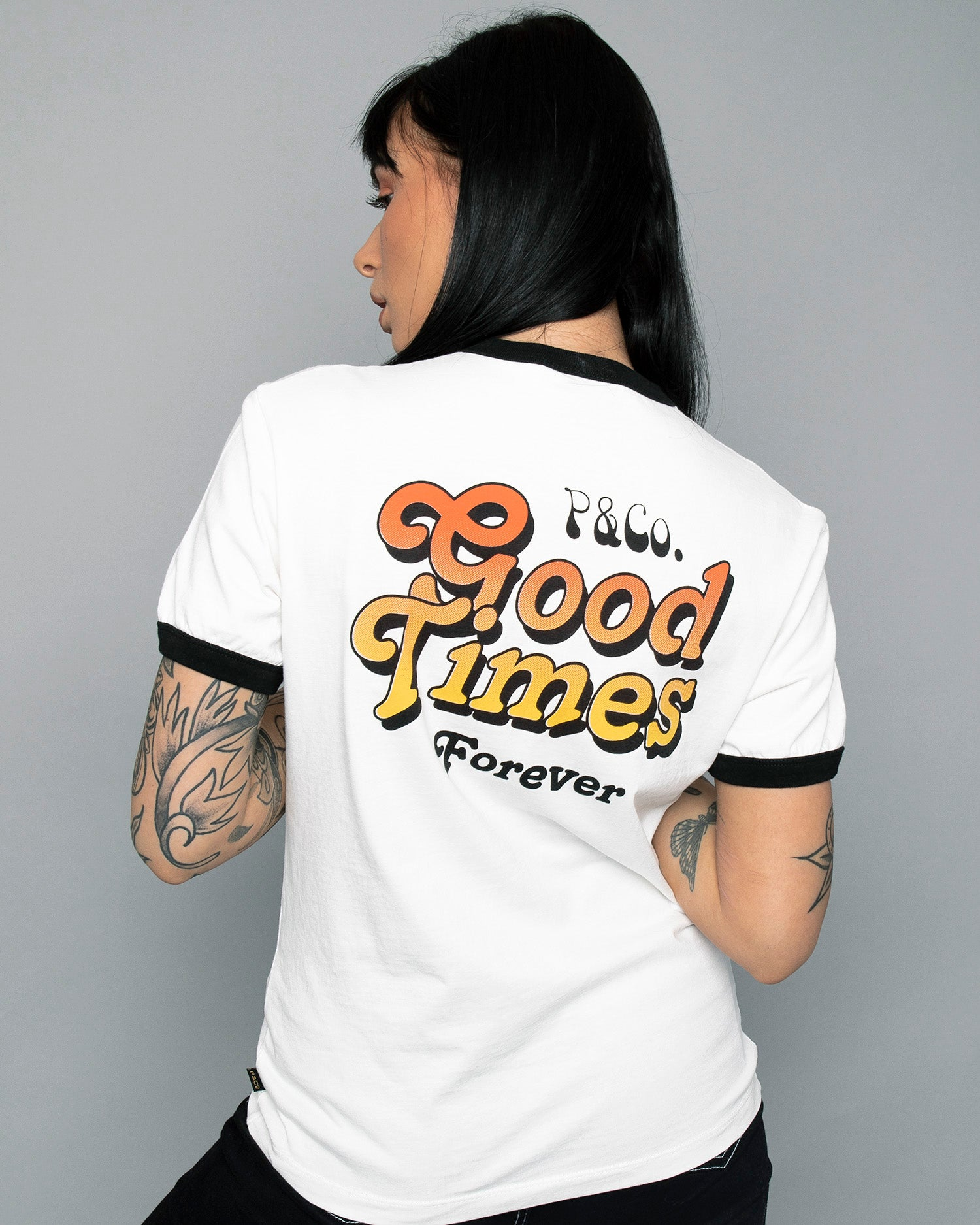 Womens Good Times Ringer White T-Shirt