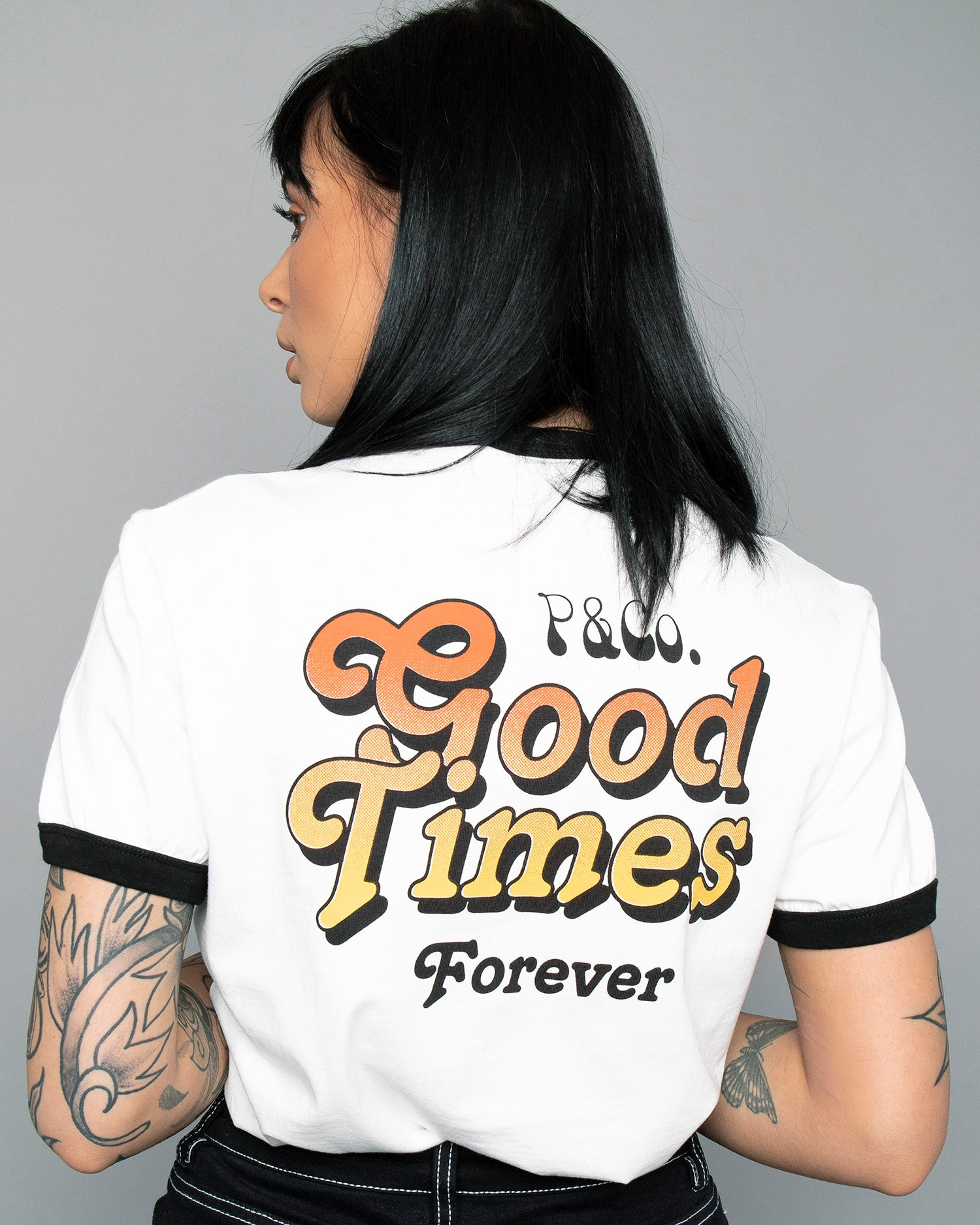 Womens Good Times White Ringer T-Shirt