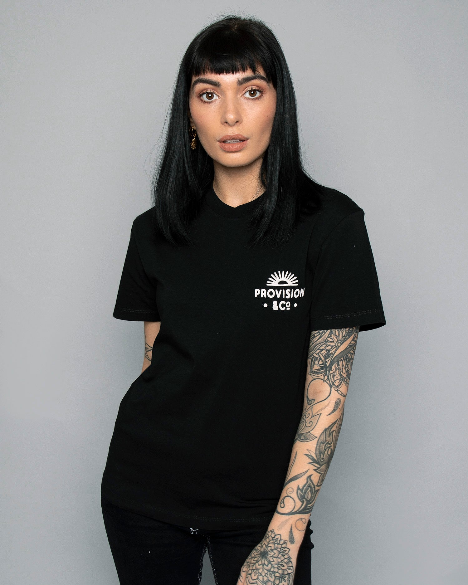 Womens Sunset Trip Black Tee