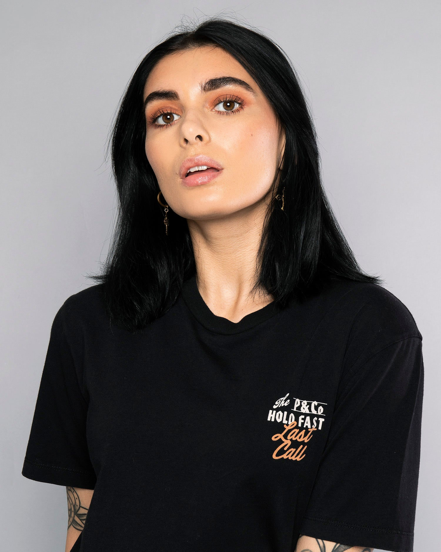 Last Call Womens Graphical Black Tee