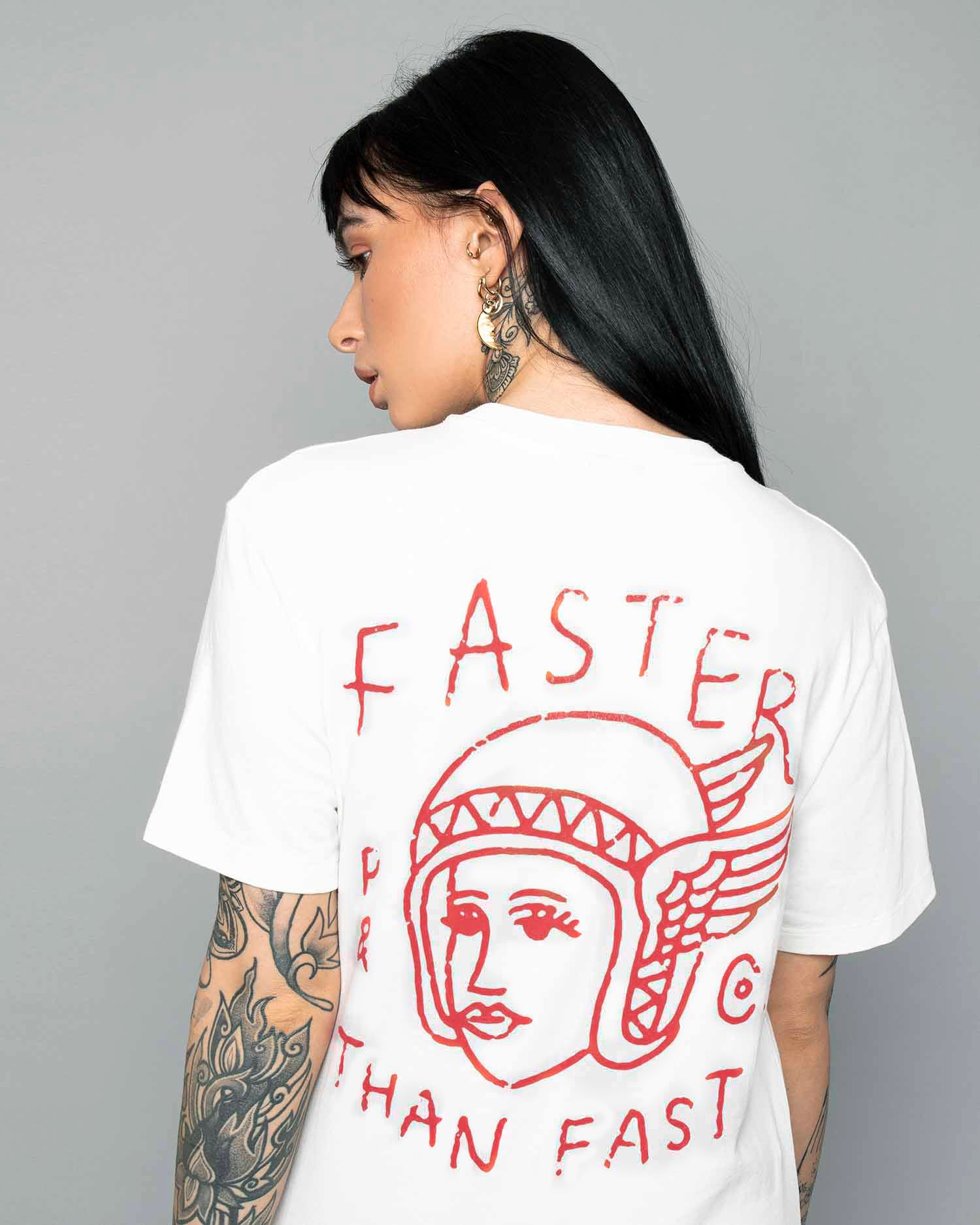 Faster than fast womens white tee