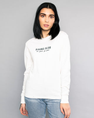 Womens White Karma Klub Long Sleeve Tee