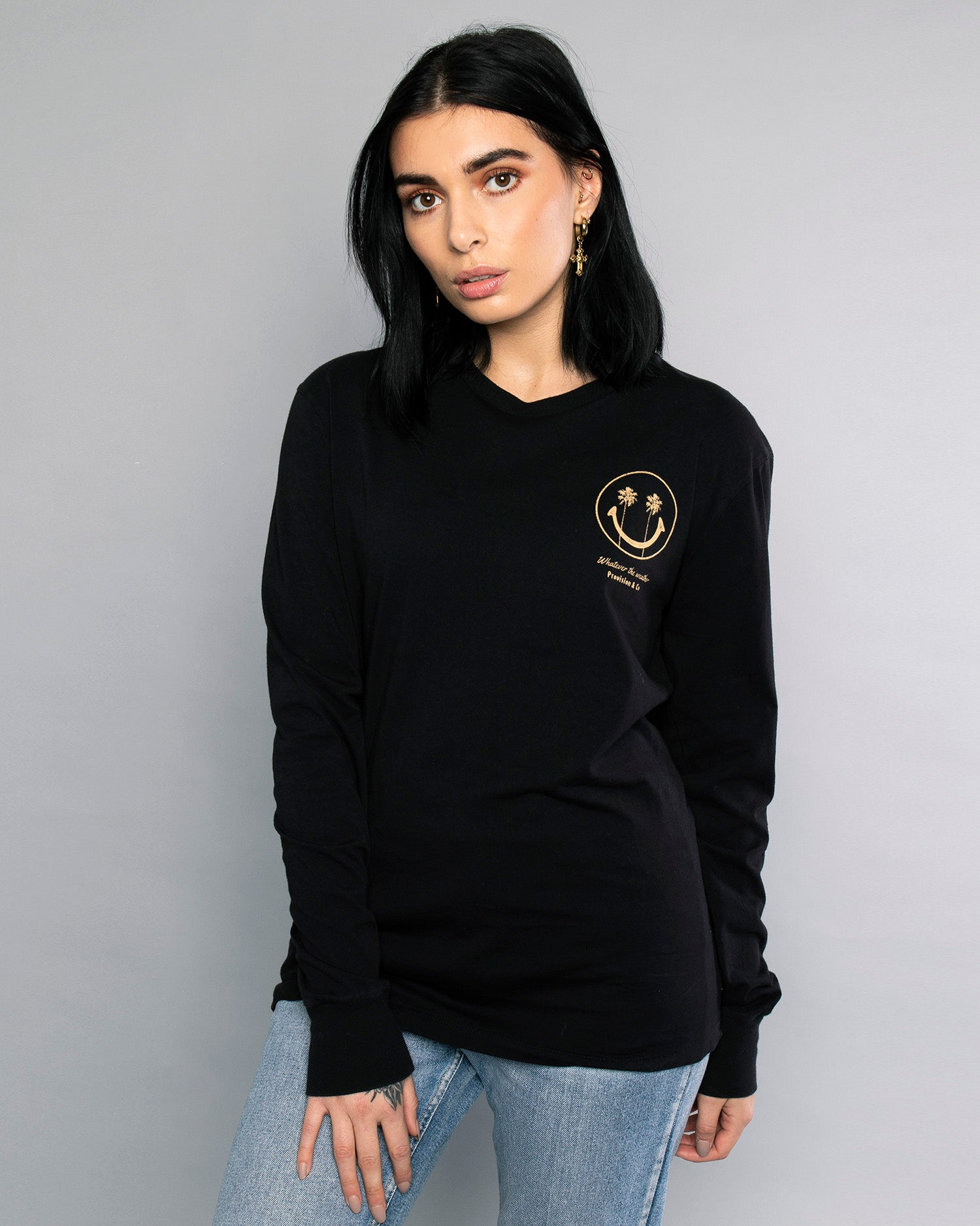 Womens Whatever The Weather Black Long Sleeve Tee