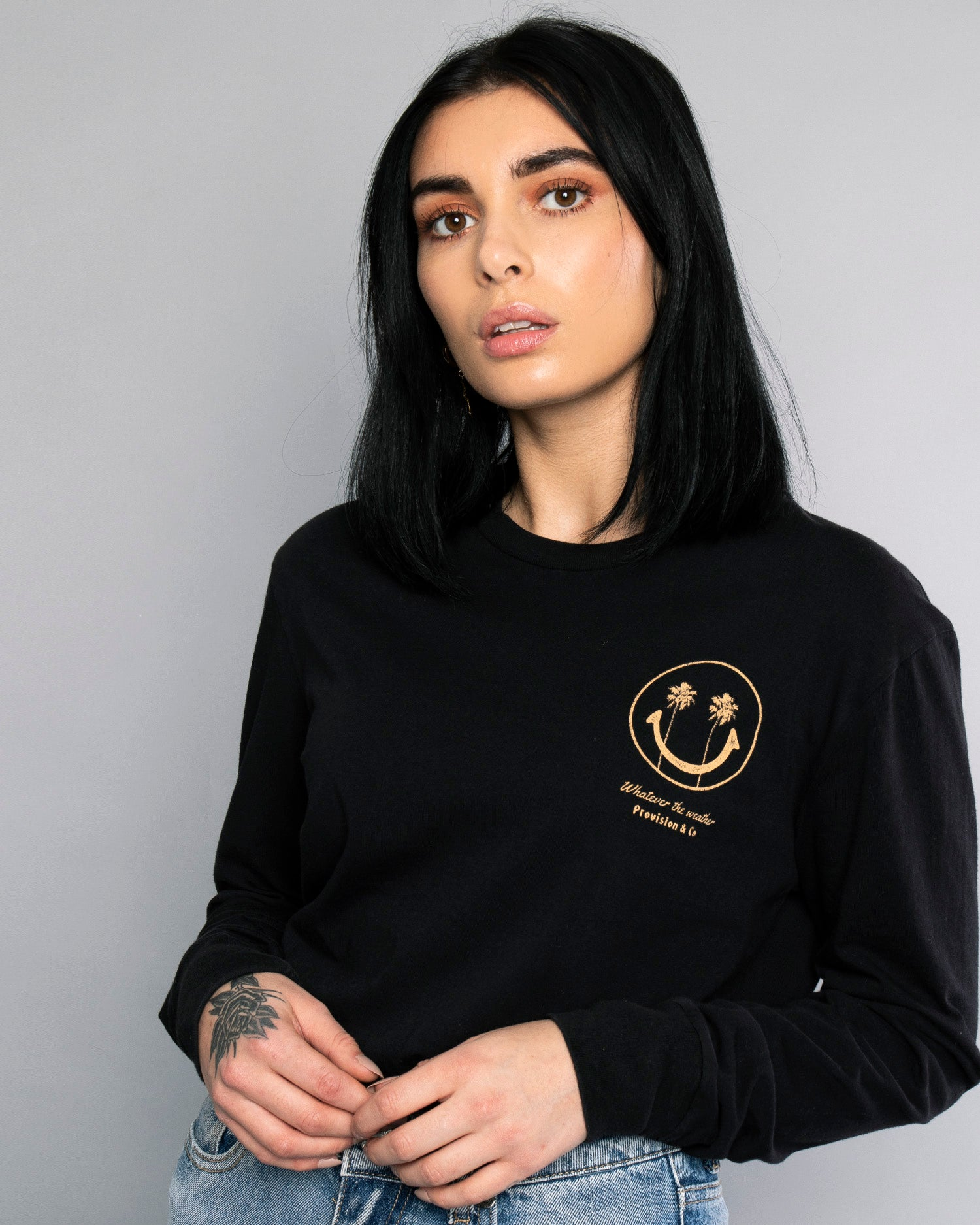 Whatever The Weather Womens Black Long Sleeve T-Shirt