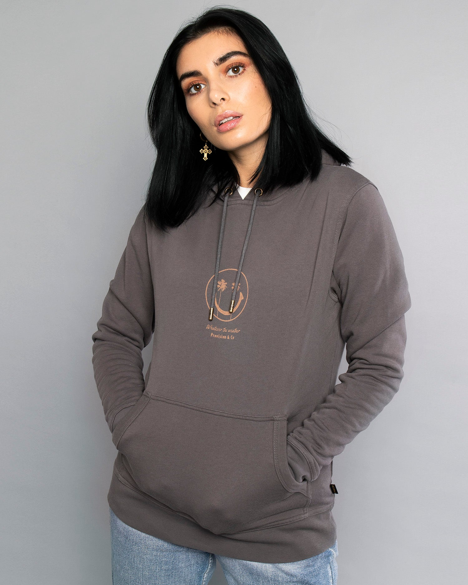 Whatever The Weather Pullover Grey Hoodie