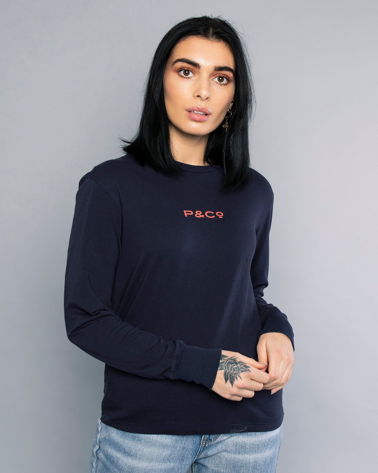 Fade Away Navy Long Sleeve T-Shirt