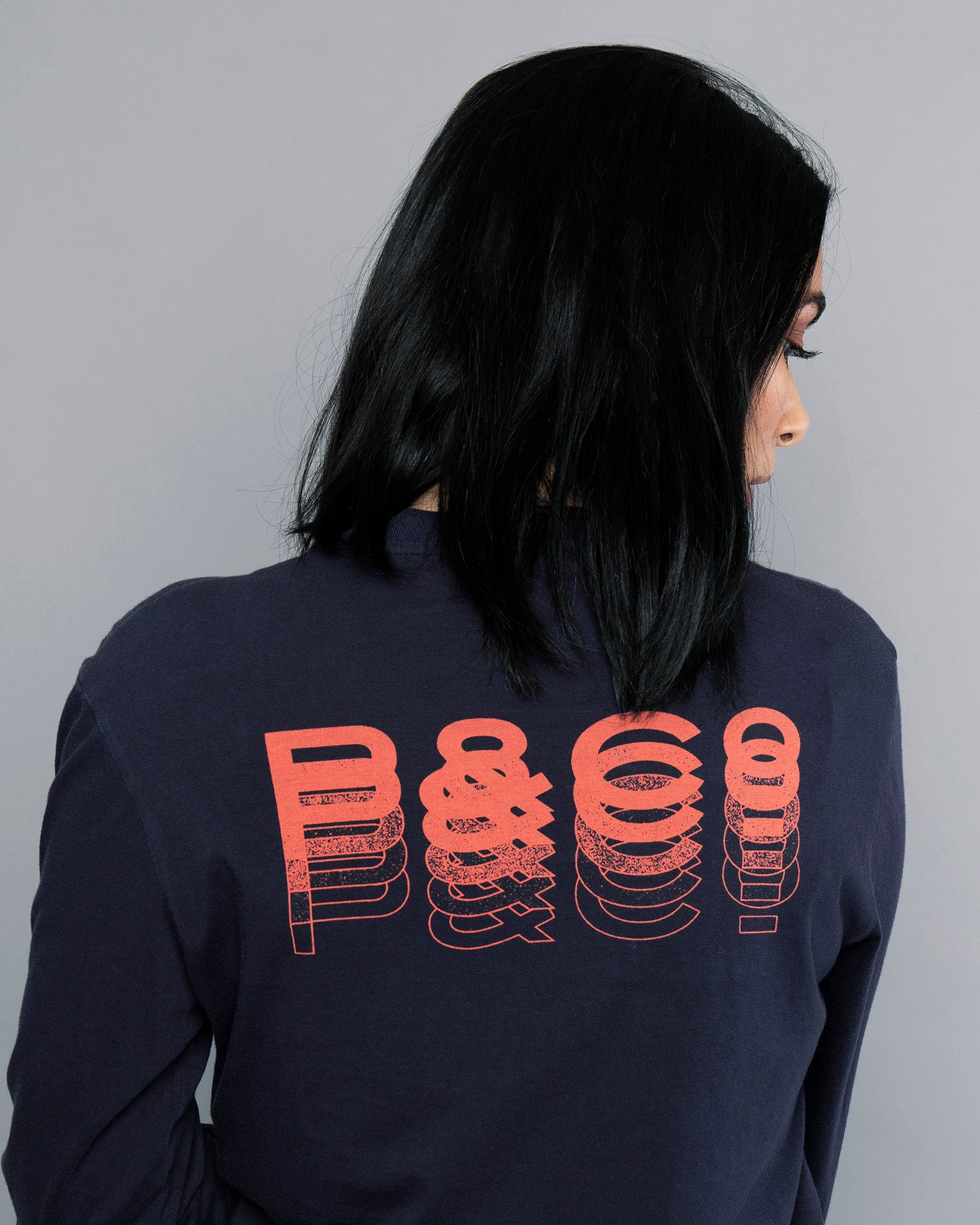 Womens Fade Away Navy Long Sleeve T-Shirt