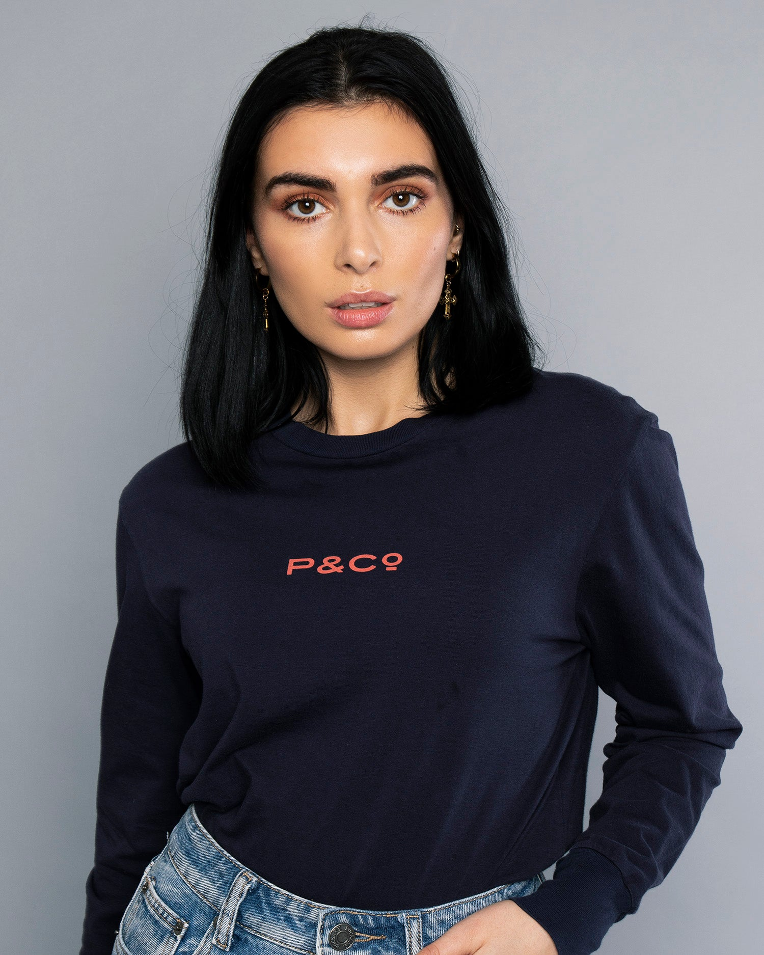 Fade Away Navy Long Sleeve Womens Printed T-Shirt