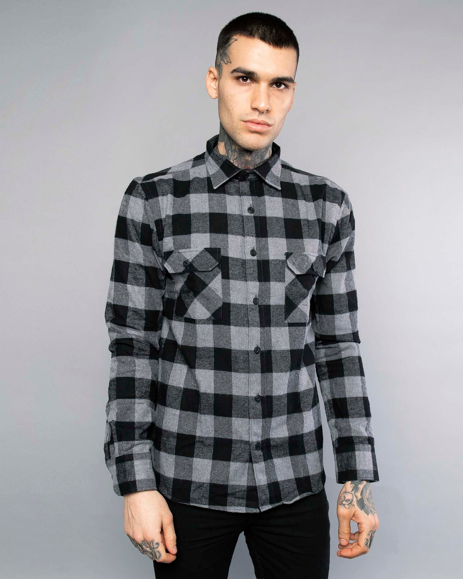 Mens Grey Plaid Flannel Shirt