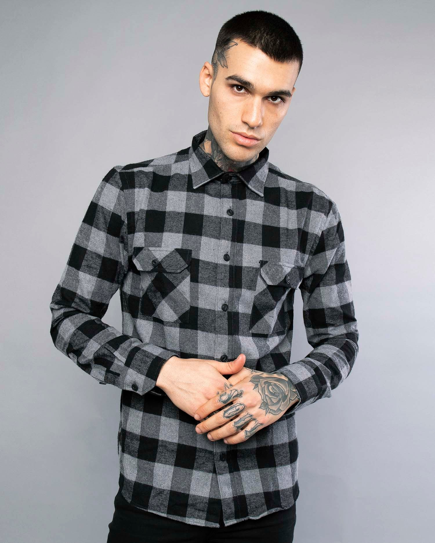 Mens Plaid Flannel Shirt in Grey
