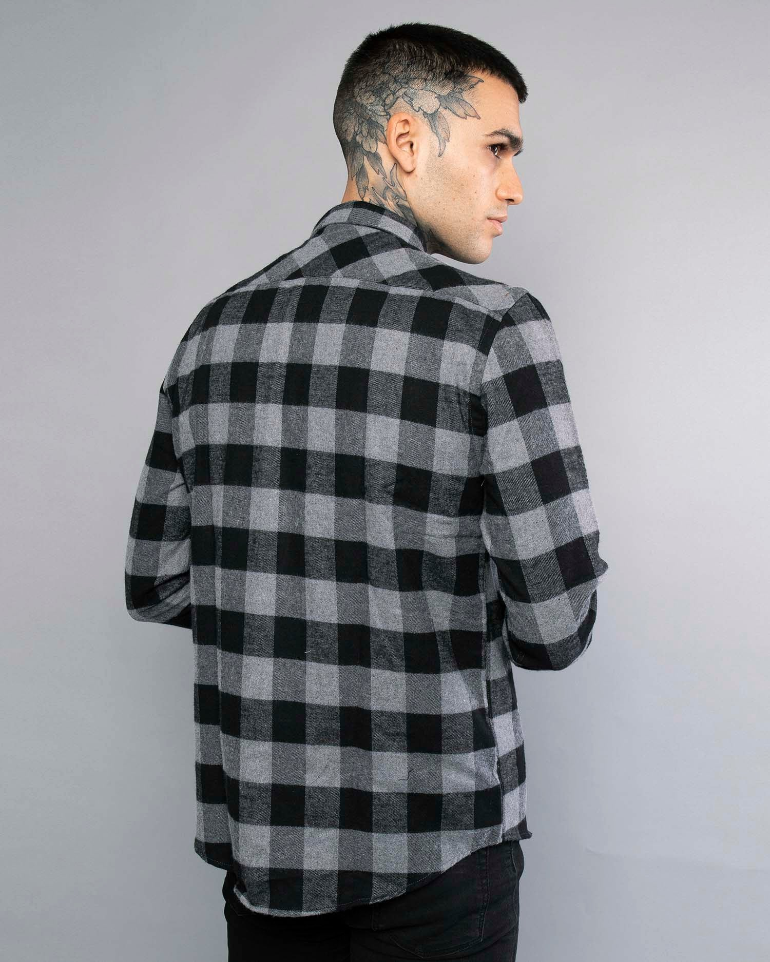 Mens Grey Flannel Shirt UK
