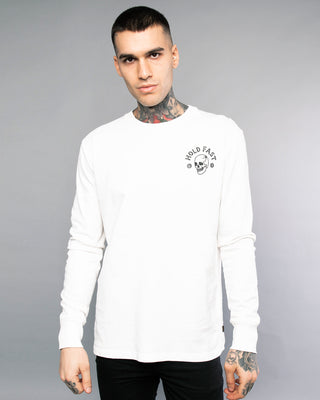 Hold Fast Longsleeve Mens White Tee