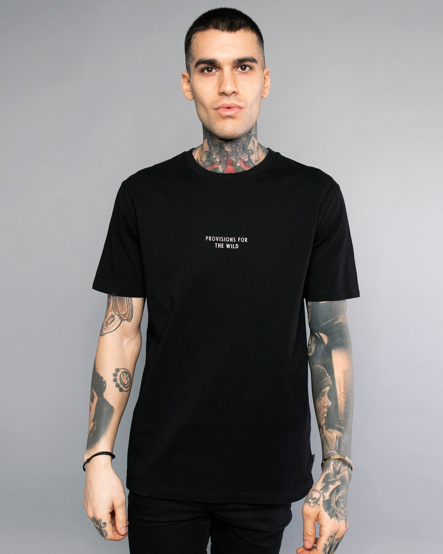 Mens Provisions for the wild Black Tee