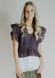 ba&sh Lace Cropped Top