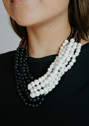 Chunky Black and White Twist Necklace
