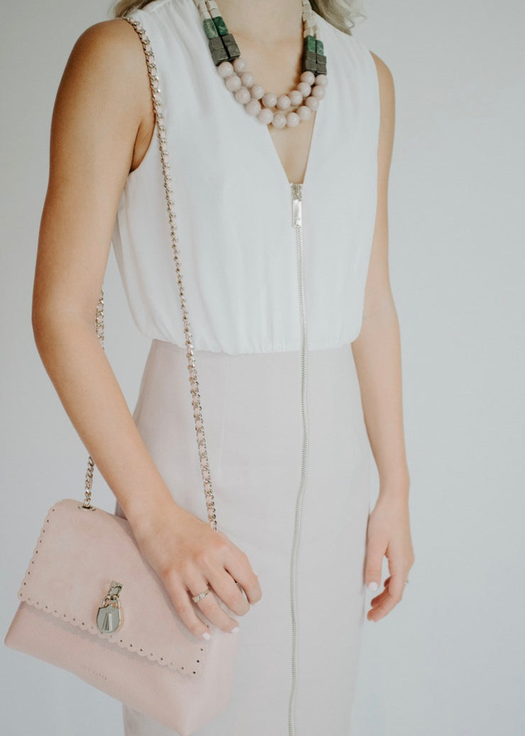 Blush and white bodycon dress