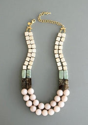 David Aubrey Two Strand Pink Necklace