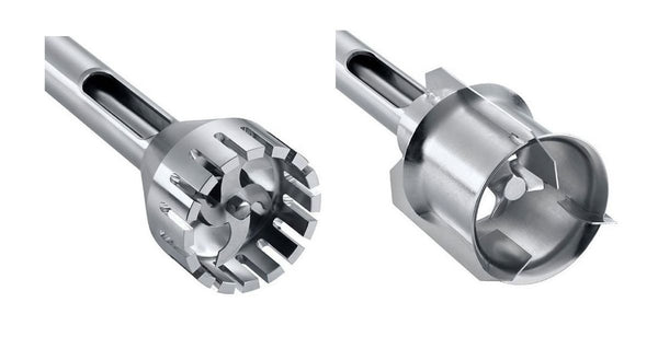 A cutting head and a jet mixer head.