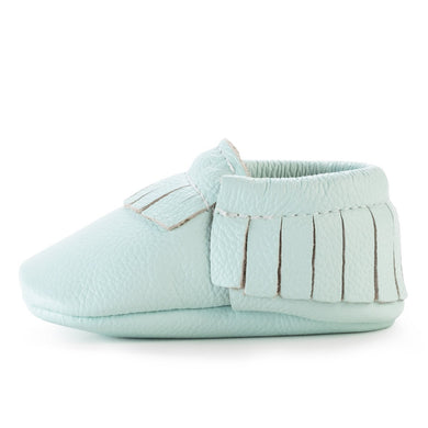 Birdrock Baby Leather Moccassins (Seafoam) - Dribblebabies