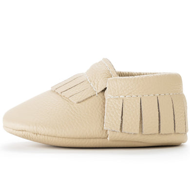 Birdrock Baby Leather Moccassins (Latte) - Dribblebabies