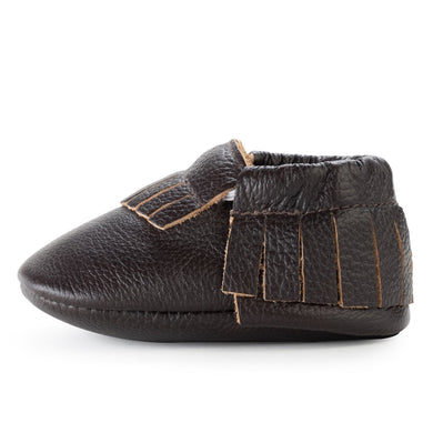 Birdrock Baby Leather Moccassins (Espresso) - Dribblebabies