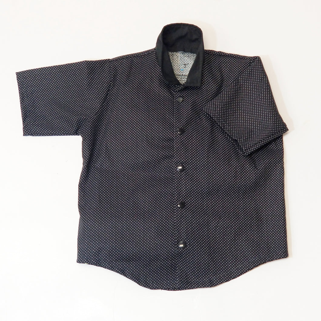 Snap Button Shirt (Black w/ White Dots) - Dribblebabies
