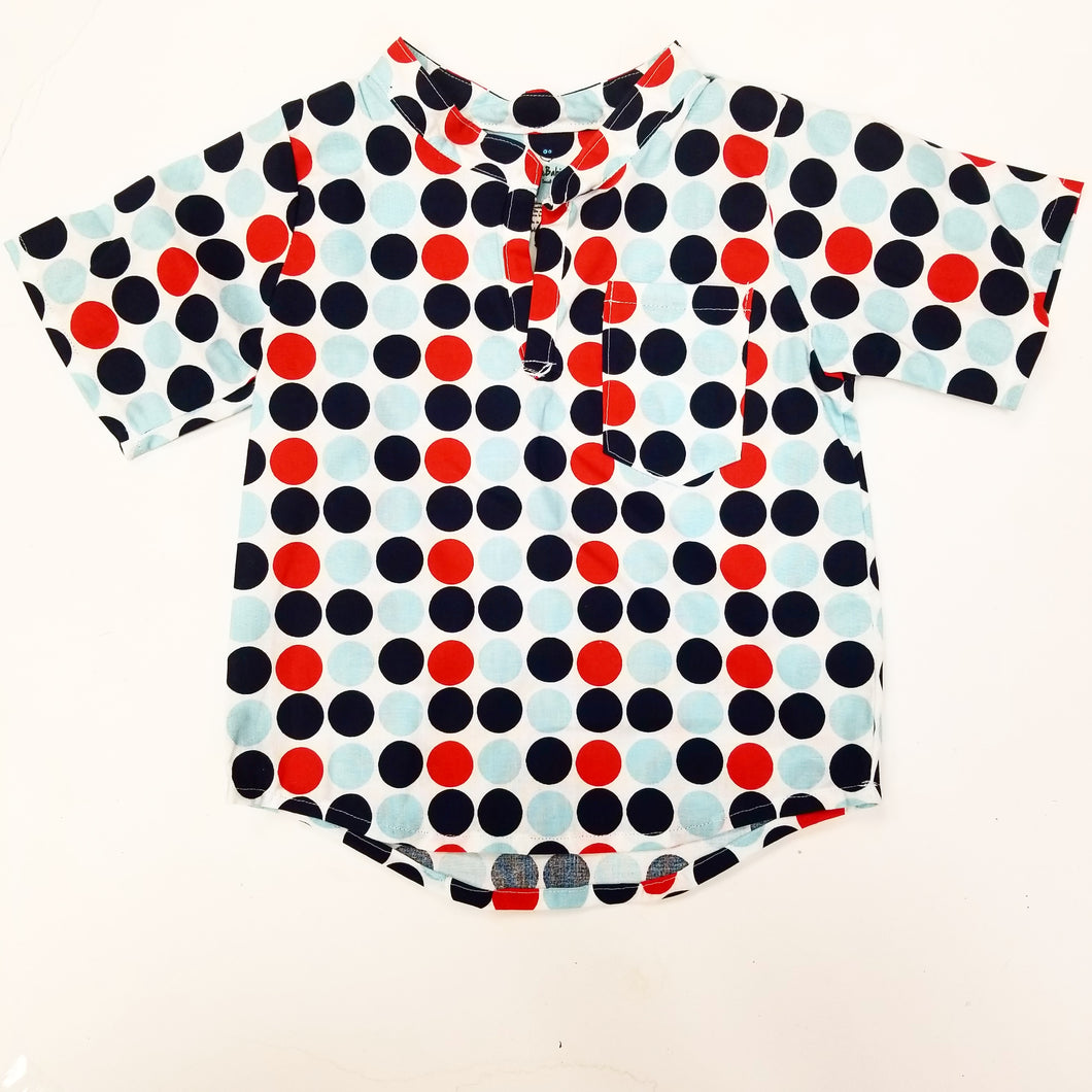 DribbleBabies - Classic Shirt (Red and Blue Polka Dot) - Dribblebabies