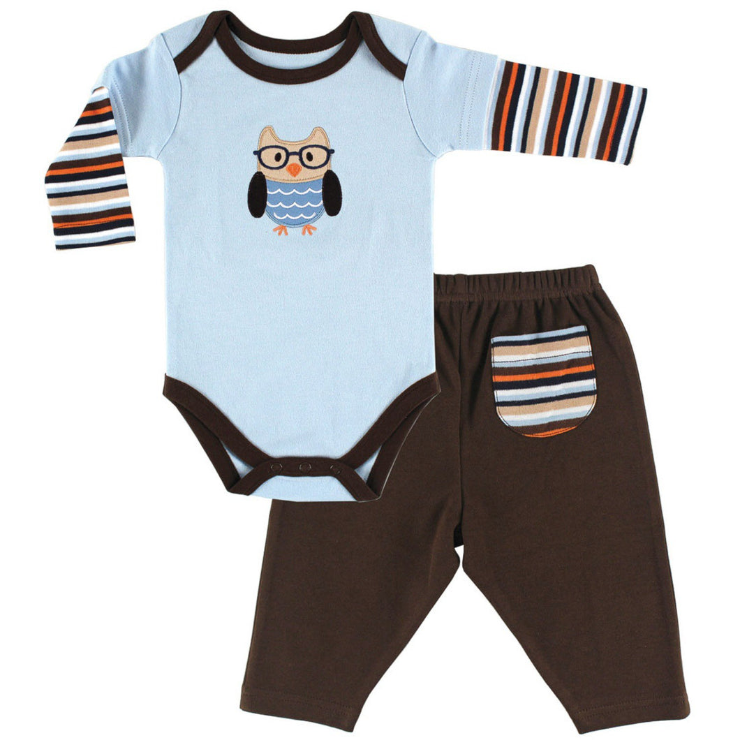 Organic Bodysuit and Pants Set (Owl) - Dribblebabies