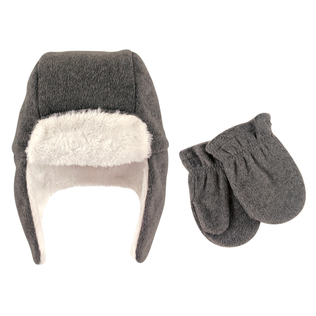 Trapper Hat & Mitten Set (Charcoal) - Dribblebabies
