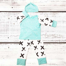 Criss, Cross Mint Set (Shirt, Bottoms and Hat) - Dribblebabies - 1