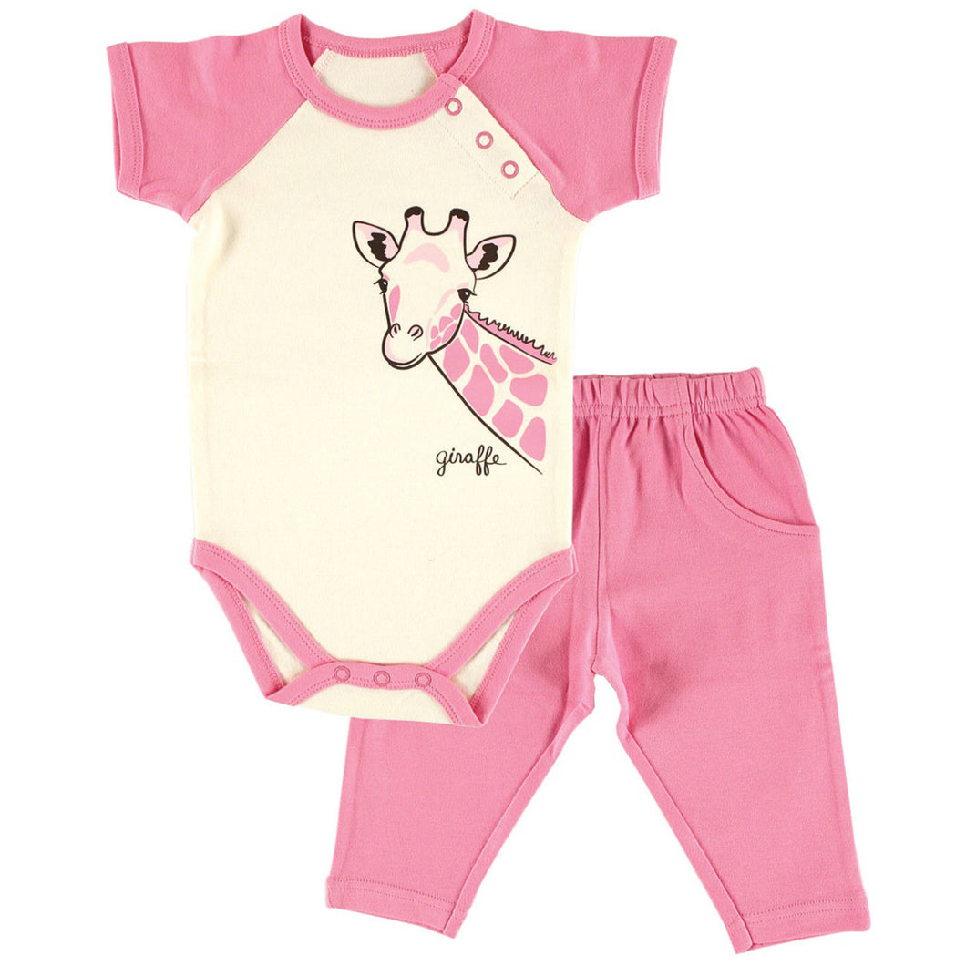 Organic Bodysuit and Pants Set (Giraffe) - Dribblebabies