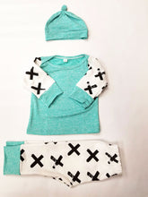 Criss, Cross Mint Set (Shirt, Bottoms and Hat) - Dribblebabies - 3