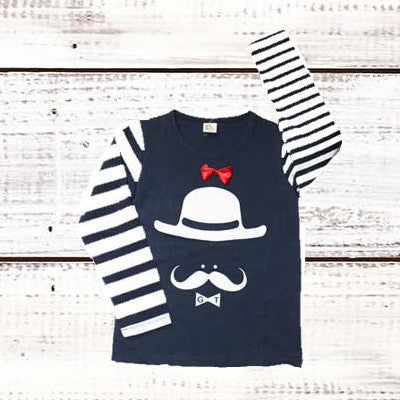 Hat, 'Stache and a Bow Tie Shirt - Dribblebabies - 1