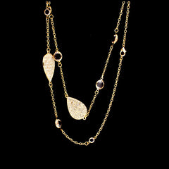 Pear Sparkly Long Necklace