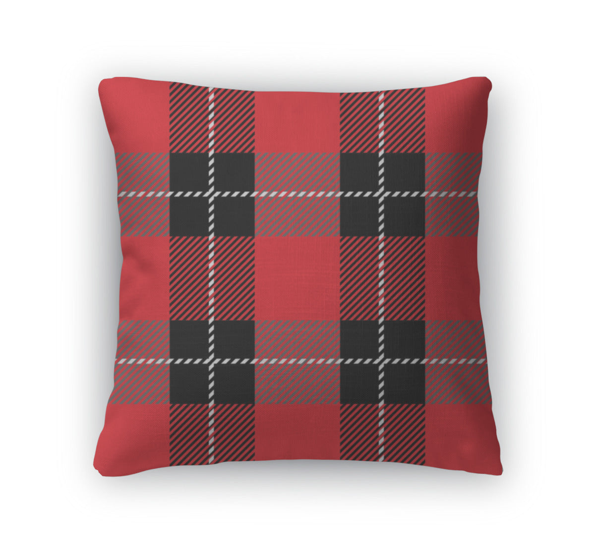 Throw Pillow, Red Tartan Plaid Pattern
