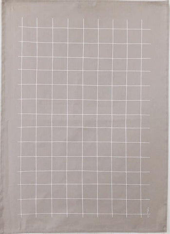 Tea Towel Grid (White on Warm Grey)
