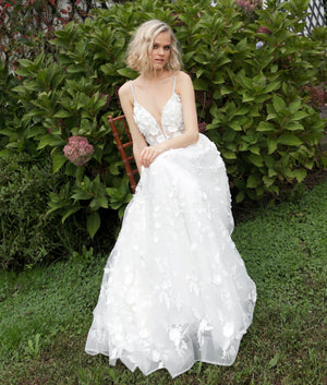 White Spaghetti Straps Floral Wedding Dress - Channy Bride & Beyond