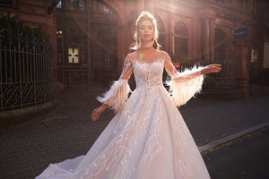 085 Abigail A-Line Wedding Dress With Sleeve - Channy Bride & Beyond