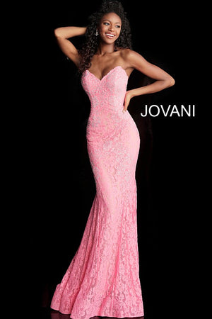 Bright Pink Fitted Strapless Lace Formal Dress 37334 - Channy Bride & Beyond