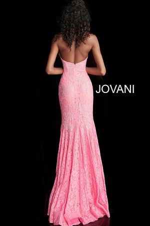 Bright Pink Fitted Strapless Lace Formal Dress 37334