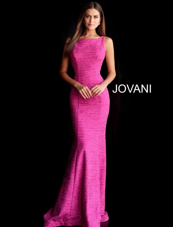 Fuchsia Backless Fitted Long Prom Dress 45830 - Channy Bride & Beyond