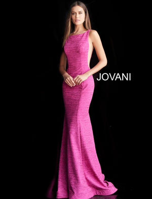 Fuchsia Backless Fitted Long Prom Dress 45830