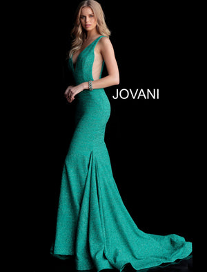 Jade Fitted Plunging Neckline Gown 47075
