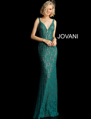 Emerald Fitted Lace Long Gown 48994