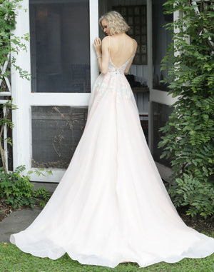 Blush Embroidered V Neck Wedding Dress - Channy Bride & Beyond