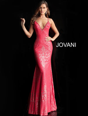 Red Embellished Plunging Neck Fitted Jersey Prom Dress 57897
