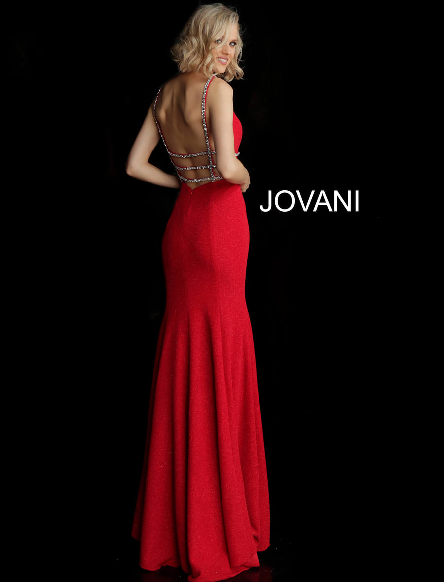 Red Embellished Plunging Neck Fitted Jersey Prom Dress 57897 - Channy Bride & Beyond