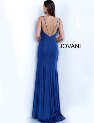 Navy V Neck Backless Fitted Glitter Prom Dress 58557